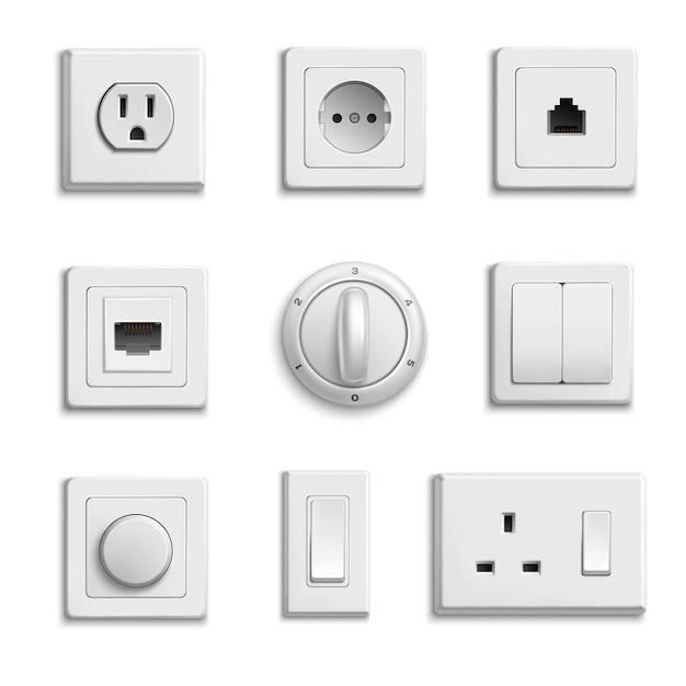 Conjunto de interruptores sockets realistic Vetor grátis
