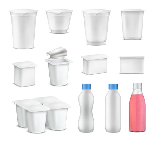 Conjunto de iogurte pacote realista com pacote em branco para garrafas Vetor grátis