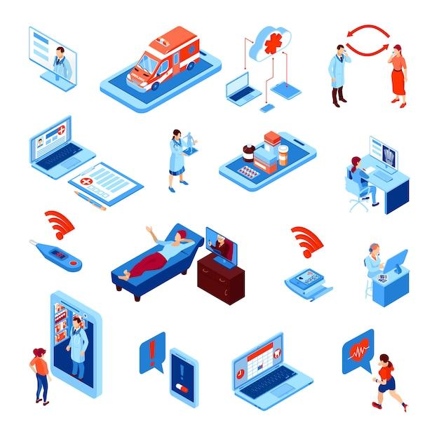 Conjunto de isométrica de medicina on-line com dispositivos eletrônicos para monitoramento de saúde e comunicação com ilustração vetorial de médico isolado Vetor grátis