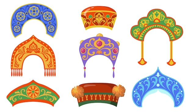 Conjunto de item plano de senhora nacional russa. desenhos animados kokoshniks para coleção de ilustração vetorial isolado de traje popular étnico. conceito de cocar e rússia Vetor grátis