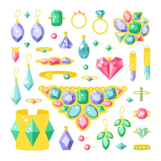 Conjunto de itens de acessórios de jóias dos desenhos animados Vetor Premium