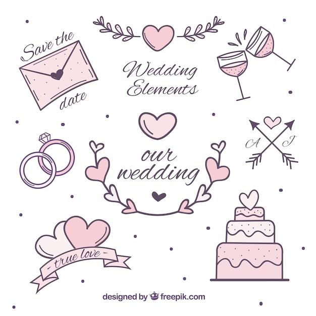 Conjunto de itens de casamento em tons rosa Vetor grátis