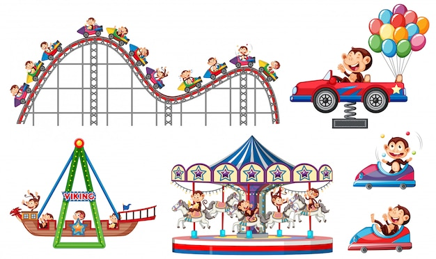 Conjunto de itens de circo em fundo branco Vetor grátis