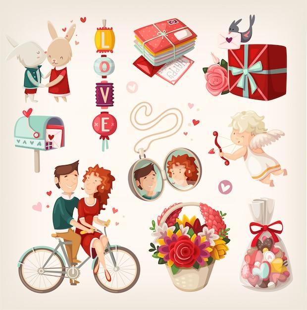Conjunto de itens de dia dos namorados romântico e pessoas. ilustrações isoladas Vetor Premium