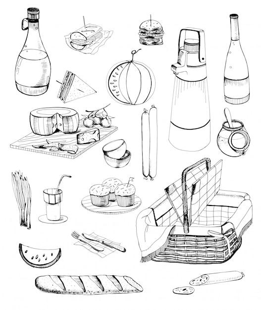 Conjunto de itens de piquenique de mão desenhada. coleção com vários alimentos, bebidas, cesta. ilustração de contorno. Vetor Premium