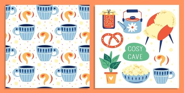 Conjunto de itens diferentes estilo de vida bonito. . plat, xícara de café, pipoca, pote de geléia. cartão postal. ilustração colorida plana, arte isolada Vetor Premium