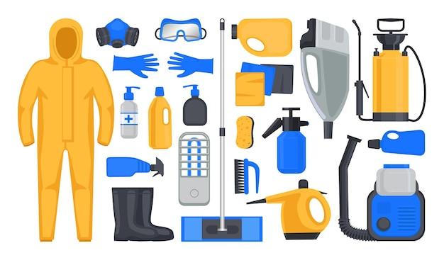 Conjunto de itens e equipamentos para desinfecção e saneamento Vetor Premium