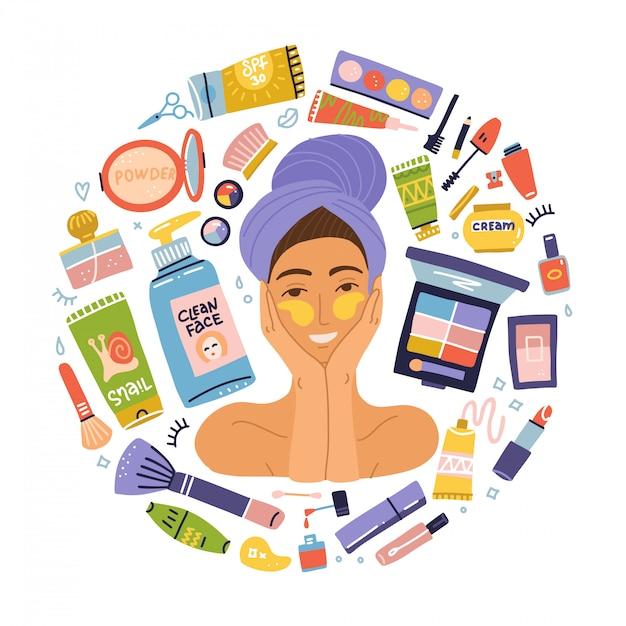 Conjunto de itens maquiagem cosméticos. jovem retrato com manchas. produtos de higiene plana. menina escovando com uma toalha na cabeça dela. estilo de vida saudável do conceito Vetor Premium