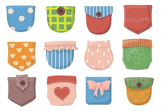 Conjunto de itens planos com vários bolsos coloridos Vetor grátis