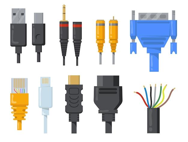 Conjunto de itens planos de cabos, fios e cabos de computador. desenhos animados conectores pretos e coloridos para coleção de ilustração vetorial de porta hdmi ou vga isolada. conceito de rede e comunicação Vetor grátis