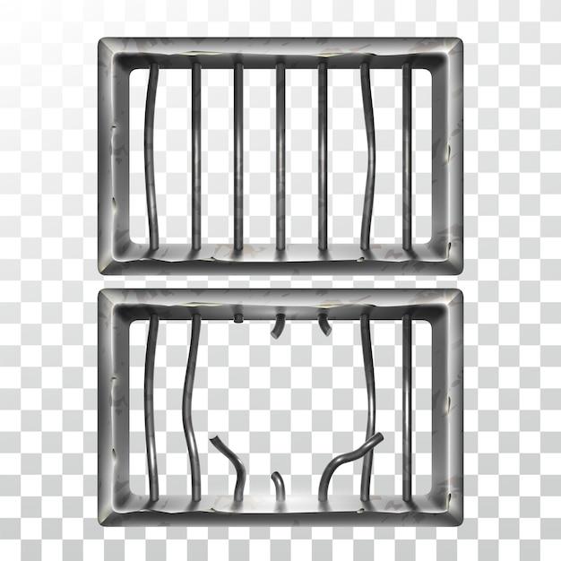 Conjunto de janela da prisão e barras metálicas quebradas Vetor Premium