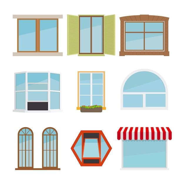 Conjunto de janela plana de vetor Vetor grátis