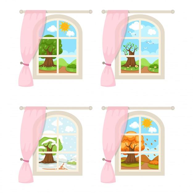 Conjunto de janelas com vetor de ilustração de clima sazonal Vetor Premium