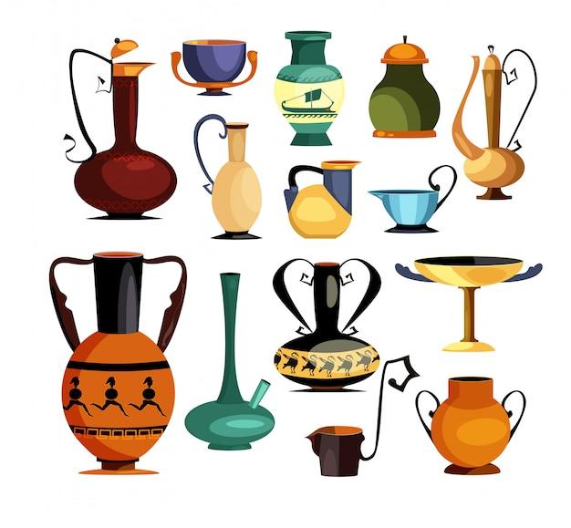 Conjunto de jarros e jarros antigos Vetor grátis