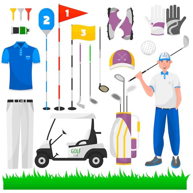 Conjunto de jogo para o golfe. Vetor Premium