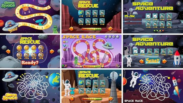 Conjunto de jogos de tabuleiro com tema espacial Vetor grátis