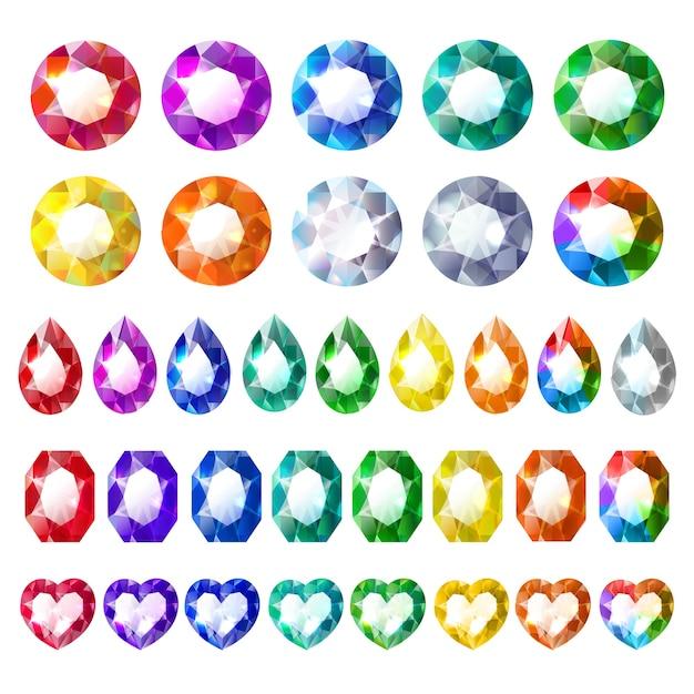 Conjunto de joias brilhantes e lindas Vetor grátis