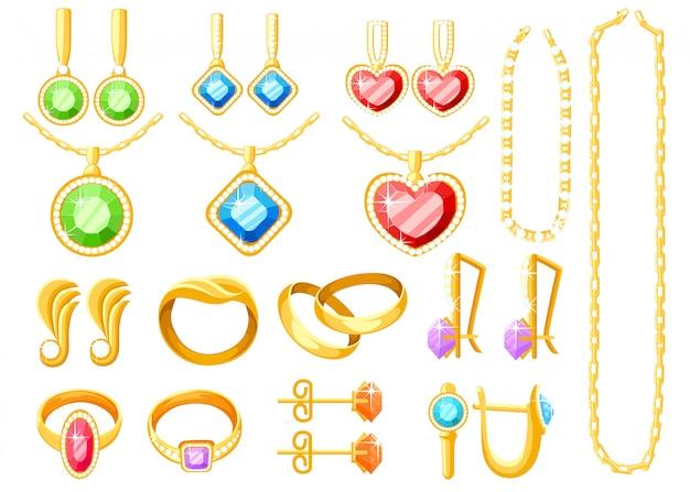 Conjunto de joias de ouro. coleções de anéis, brincos, correntes e colares de ouro. acessórios de joias. ilustração em fundo branco Vetor Premium