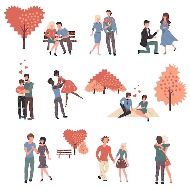 Conjunto de jovens casais no amor dos desenhos animados personagens. Vetor Premium