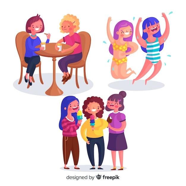 Conjunto de jovens mulheres a passar tempo juntos Vetor grátis