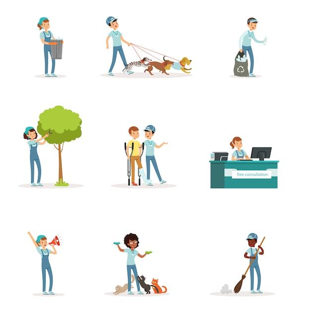 Conjunto de jovens voluntários: jardinagem, limpeza de lixo, ajuda a idosos e desabrigados. atividades de apoio social. personagem de desenho animado. ilustração em estilo em fundo branco. Vetor Premium