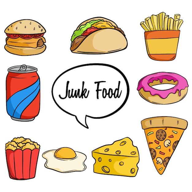 Conjunto de junk food saboroso com mão desenhada ou estilo doodle Vetor Premium