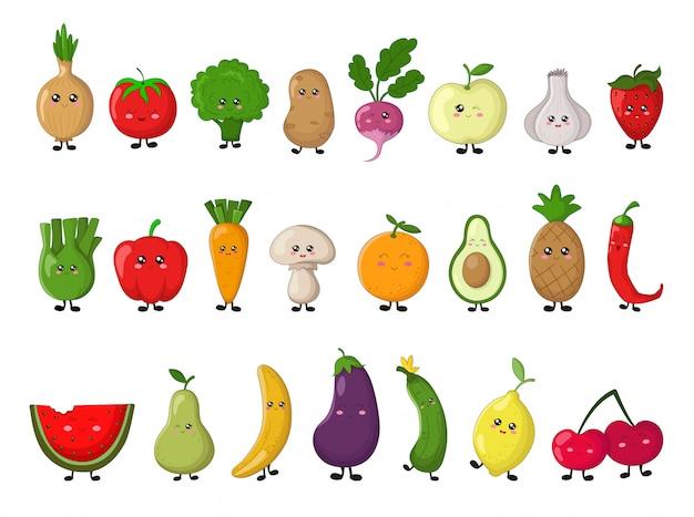 Conjunto de kawaii legumes e frutas. elementos isolados Vetor Premium