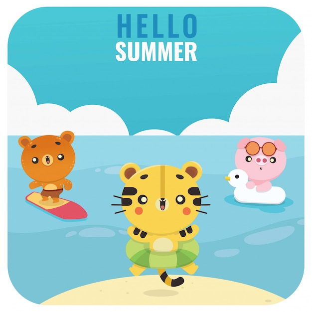 Conjunto de kawaii verão bonito animal tigre urso porco ilustração Vetor Premium