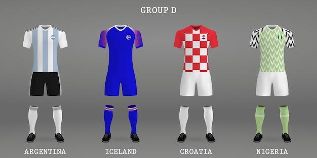 Conjunto de kit de futebol, modelo de camisa para a camisa de futebol. Vetor Premium