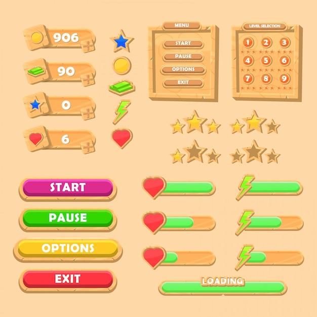 Conjunto de kit de interface do usuário do jogo de madeira engraçado Vetor Premium