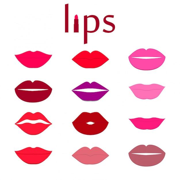 Conjunto de lábios coloridos. Vetor Premium