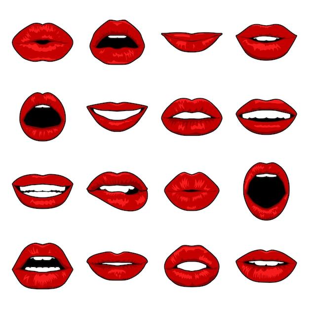 Conjunto de lábios de pop art Vetor Premium