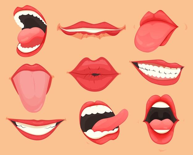 Conjunto de lábios femininos com várias emoções e expressões de boca. ilustração. Vetor Premium