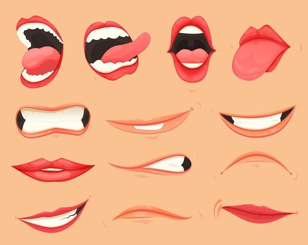 Conjunto de lábios femininos com várias expressões e emoções de boca. Vetor Premium