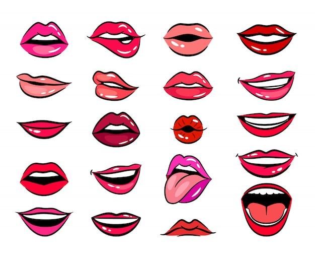 Conjunto de lábios femininos em quadrinhos Vetor Premium