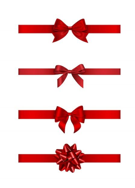 Conjunto de laços e fitas vermelhas Vetor Premium