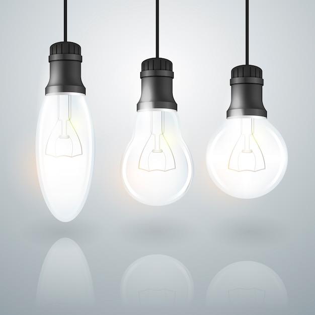 Conjunto de lâmpada transparente realista Vetor grátis