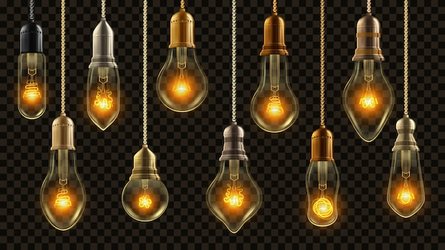 Conjunto de lâmpada vintage Vetor Premium
