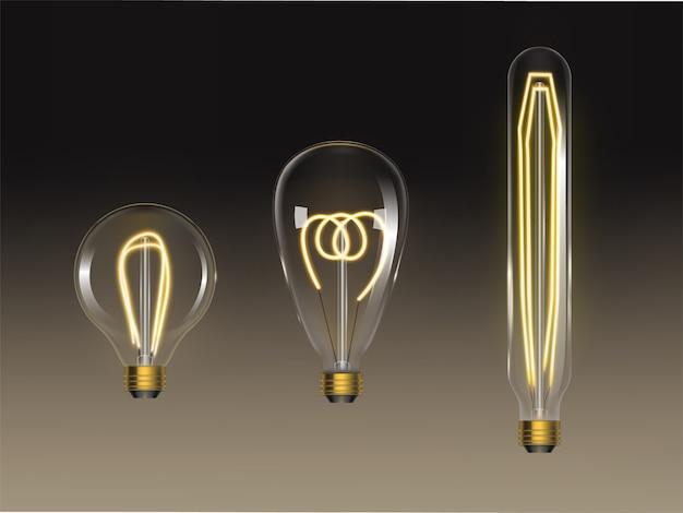 Conjunto de lâmpadas de filamento. lâmpadas de edison retrô isoladas Vetor grátis
