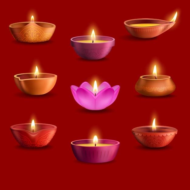 Conjunto de lâmpadas diwali diya do festival de luz indiano deepavali e design de férias da religião hindu. lâmpadas de óleo com chamas de fogo ardentes, xícaras de barro com padrão rangoli de flores estampadas, pétalas florais Vetor Premium