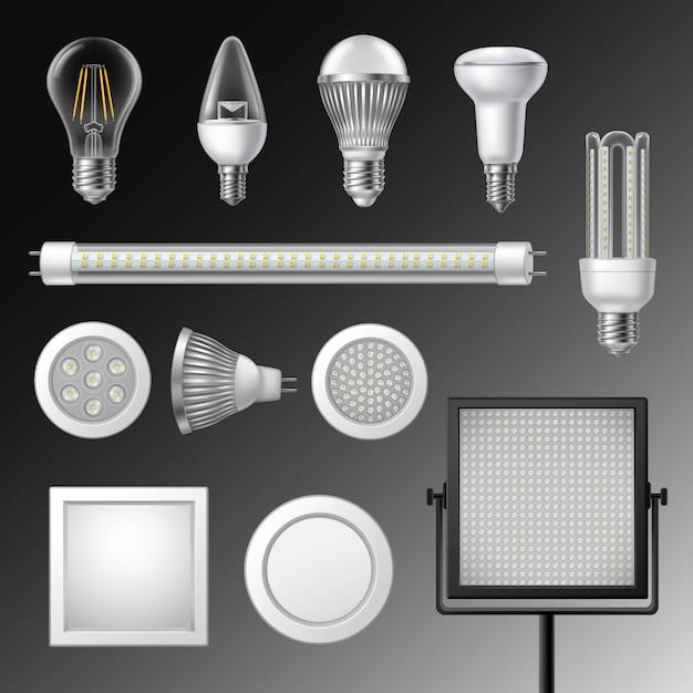 Conjunto de lâmpadas led realista Vetor grátis