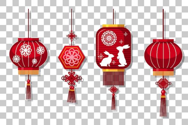 Conjunto de lanterna chinesa pendurado isolado em fundo transparente Vetor Premium