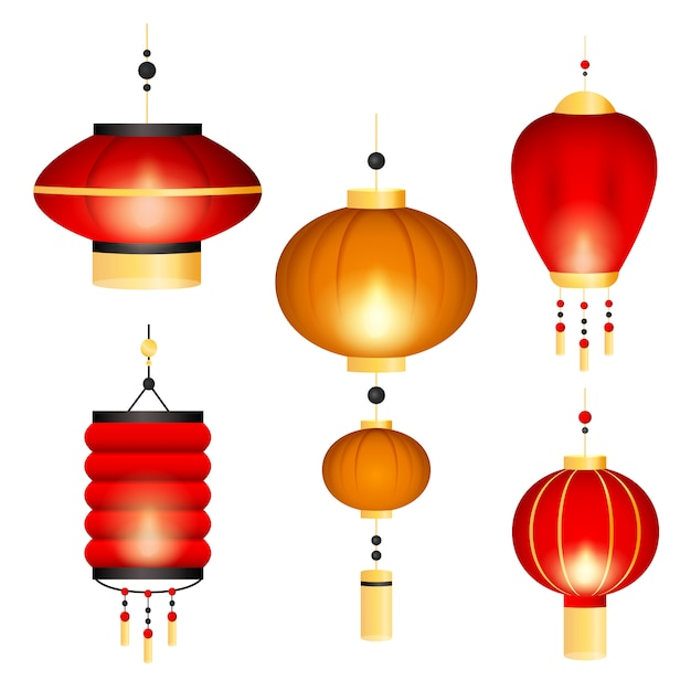 Conjunto de lanternas chinesas Vetor grátis