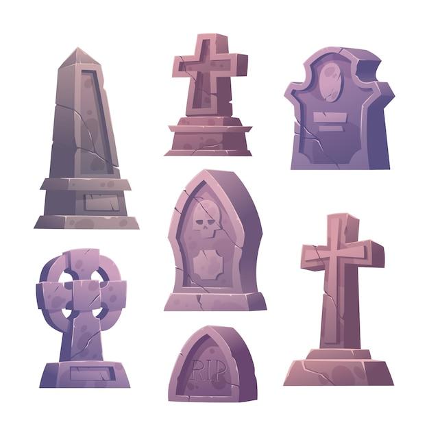 Conjunto de lápides de cemitério Vetor grátis
