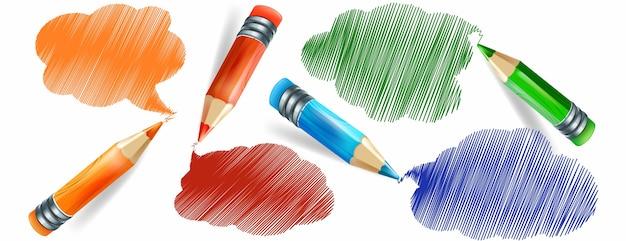 Conjunto de lápis coloridos realistas e desenho à mão com lápis Vetor Premium