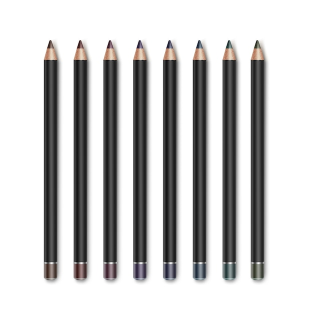 Conjunto de lápis delineador de maquiagem para cosméticos coloridos marrom escuro azul verde violeta violeta Vetor Premium