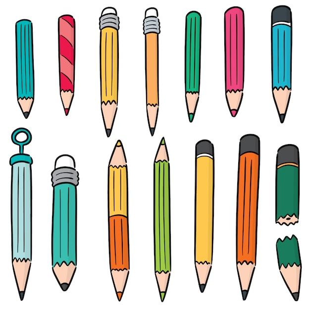Conjunto de lápis Vetor Premium
