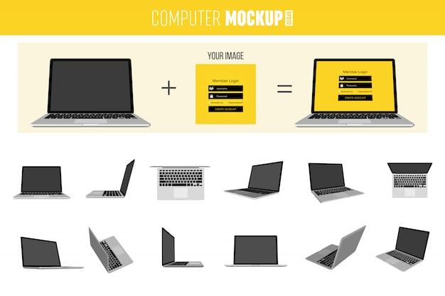 Conjunto de laptop 3d isométrico. Vetor Premium