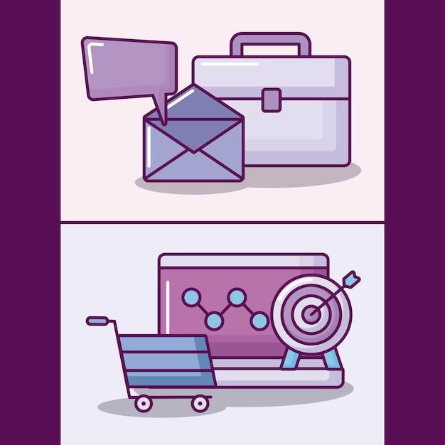 Conjunto de laptop com ícones de negócios eletrônicos Vetor grátis