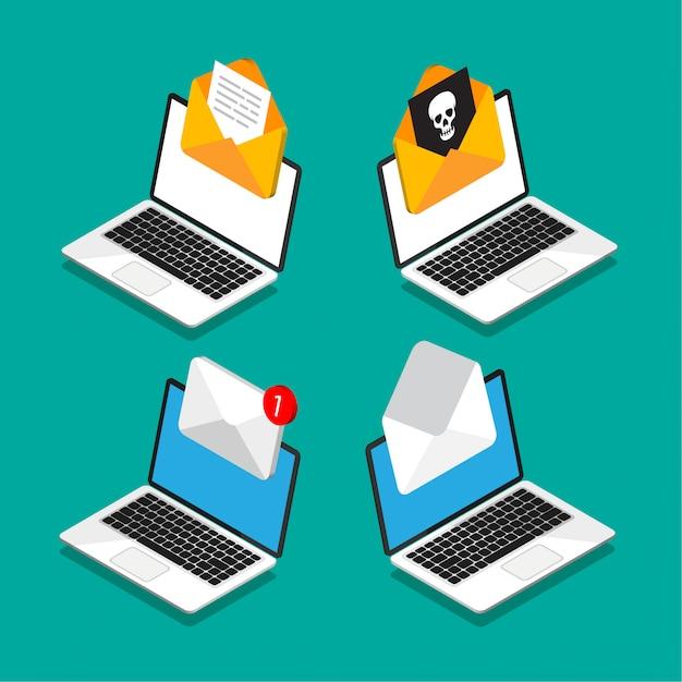 Conjunto de laptops com envelope e documento na tela em estilo isométrico. obter ou enviar nova carta. correio com vírus dentro. e-mail, marketing, conceitos de publicidade na internet. ilustração. Vetor Premium